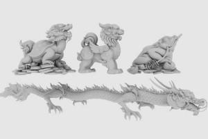 中国元素模型 瑞兽模型 龙 麒麟 貔貅 金蟾 模型 草帽 古代武器 古代建筑 中国建筑【模型】