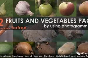 C4D模型 苹果 梨 土豆 大蒜 12种水果和蔬菜【模型】【高级群】