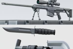 枪模型 狙击步枪和箱子【模型】