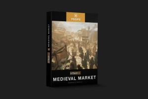 中世纪集市市场超精细完整场景3D模型 kitbash【市场模型】【模型】
