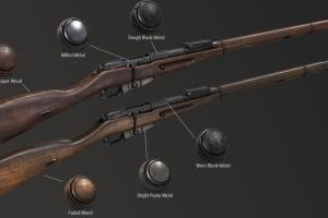 6组步枪金属与木质Substance Painter   Artstation – Gun Smart Materials Pack Vol.3  【材质】