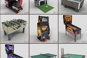 三维模型 25个游戏场景 游戏厅模型 台球桌模型 MAX FBX OBJ 贴图【模型】