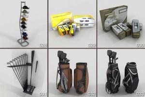 三维模型 33个高尔夫球场景模型 高尔夫球车 高尔夫球 高尔夫球服 垃圾桶 【模型】