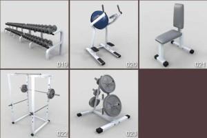 三维模型 23个健身器材模型 跑步机 哑铃 动感单车【模型】