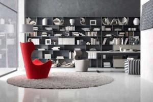 现代书房模型 简约图书架 桌子 台灯  储物格 图书 毛毯 地毯 艺术品【模型】