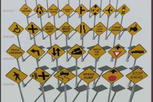 137个道路指示牌 警告指示牌 道路指示牌 道路牌【模型】