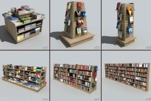27个书架模型 图书架 报纸架 收款机 沙发 折扣架 垃圾桶 名牌【模型】