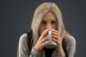 用水杯喝水的欧洲女孩模型 国外女孩 喝咖啡的女孩【模型】