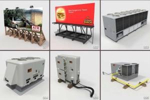 36个户外设施模型 空调主机 展板 变电箱 抽油烟机 排气管道孔 太阳能板 变电箱 闭路天线 储水管 【模型】