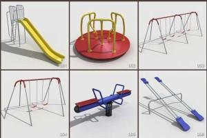 30个游乐场设施 滑梯 跷跷板 儿童迷宫 秋千 爬架 椅子 烧烤架 篮球架 垃圾桶【模型】