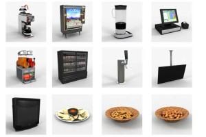 果汁机 咖啡机 KTV收音机 薯片 烟灰缸 记账本 吧凳 霓虹灯 便签【模型】