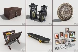 33个家装模型 台灯 吊灯 钟表 调味料 面包机 凳子 电脑 音响【模型】