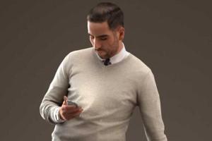 扶椅子看手机的商务男士 8K贴图【模型】