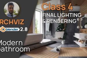 Blender 2.8 的室内环境制作渲染【Blender 2.83 Archviz in Blender 2.8  Modern Bathroom  Class 4 Final Lighting and Rendering by Victor Duarte】【教程】