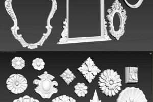 众多装饰花纹元素 墙围 镜框 罗马柱花纹【Architecture Decorative Gaudi Elements [optimized】【模型】