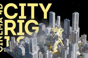 好用的C4D插件一键生成程序化城市-CITY RIG城市绑定