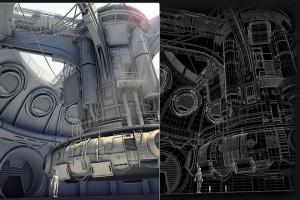 霸气的科幻工业机械建筑MAYA场景模型科幻工业基地飞船【模型】