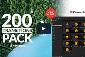200个动态转场PremiumBuilder TransitionsPack V3【AE模板】