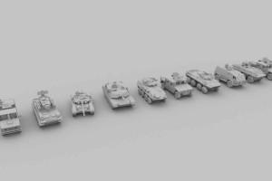 10个低模装甲车+材质【Army vehicles - 10 3d models Ready for games [ Low poly ]】