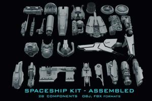 硬表面太空飞船零件模型【Gumroad - Spaceship Kit - Full - Sci-Fi Kitbash (Andrew Hodgson)】