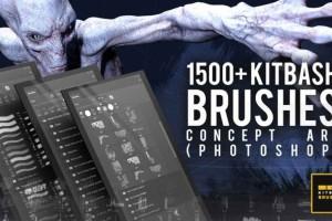 1500个风格化PS画笔【ArtStation - 1500+ Kitbash Brushes for Concept art (Photoshop)】