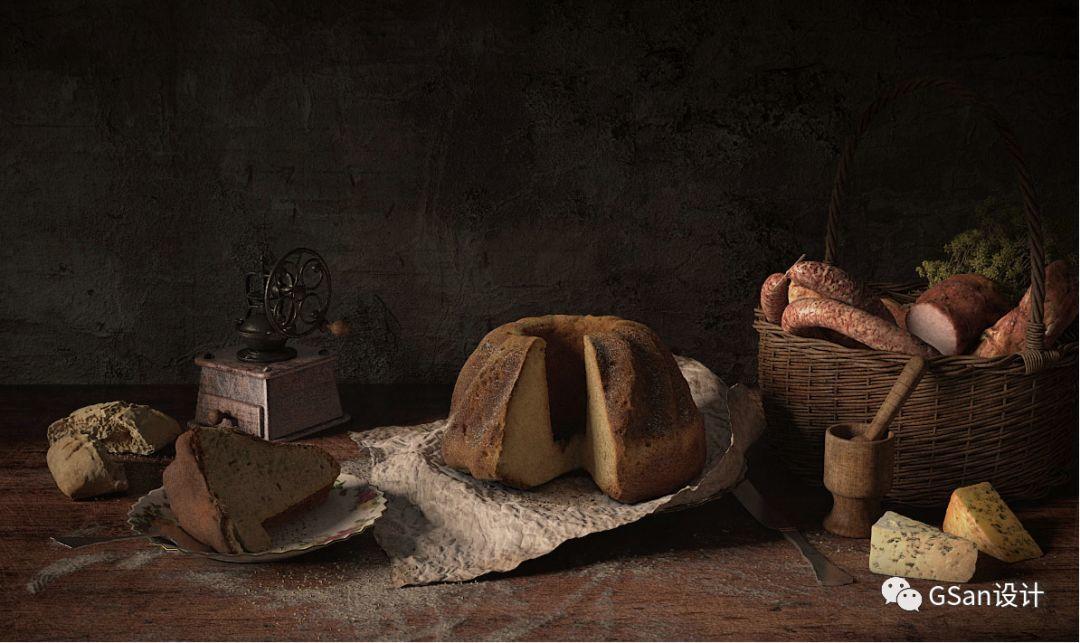 C4D模型 52个高写实食物模型材质_蛋糕_披萨_奶酪_巧克力面包【模型】【高级群】